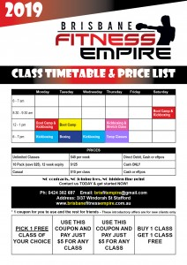 2019 class fitness timetable for Brisbane Fitness empire