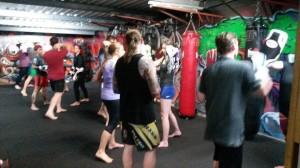 Monday night kickboxing class