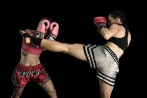 Suzi blocking a headkick