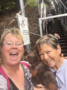 Suzi & mum taking on the stair challenge at Jacobs Ladder in Perth